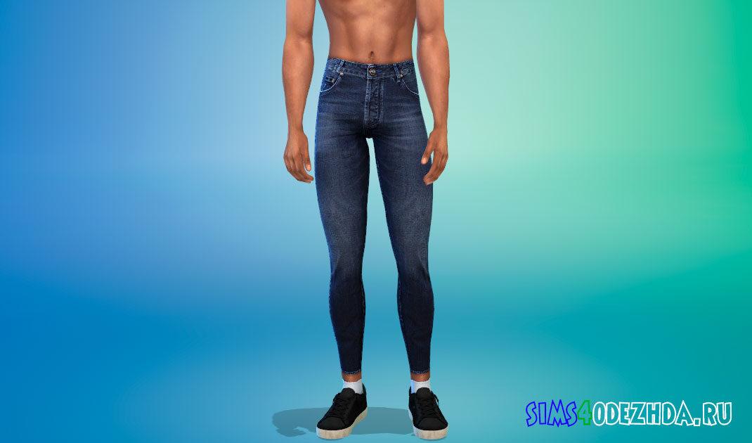 Мужские зауженные джинсы для Симс 4 – фото 1