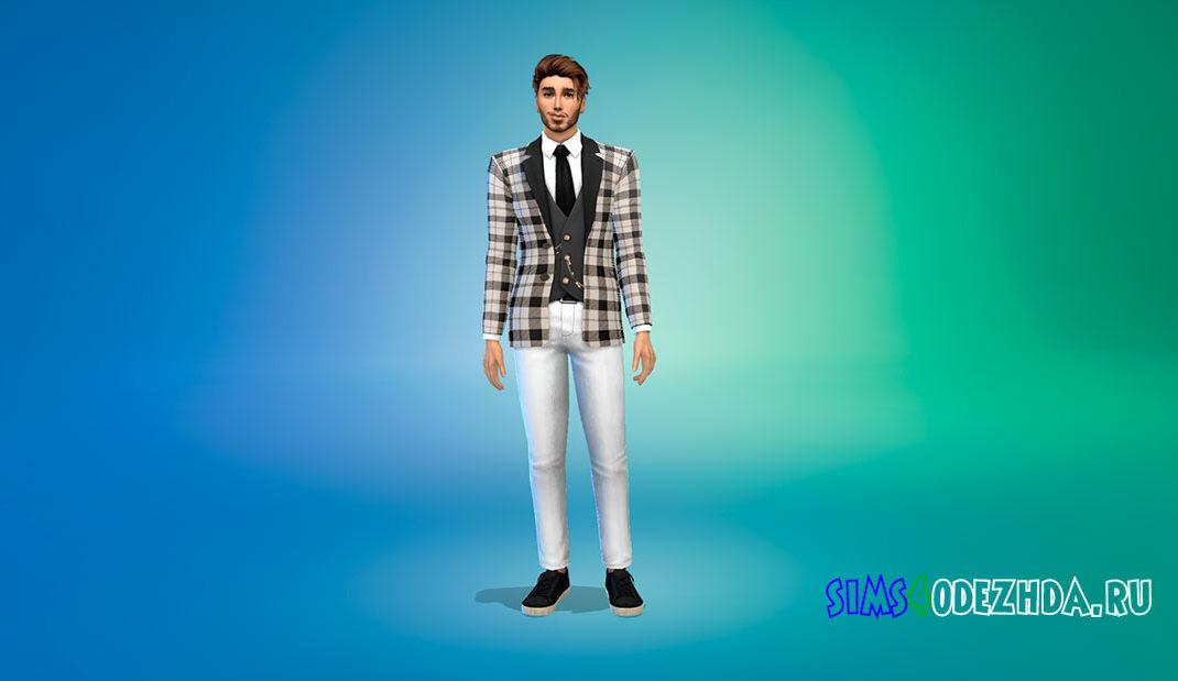 Мужской костюм с жилеткой для Симс 4 – фото 1