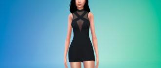 Облегающее платье с высоким воротником для Симс 4 – фото 1
