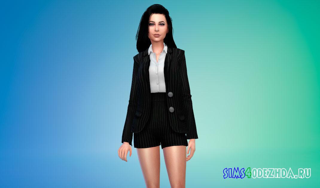 Пиджак с рубашкой и шорты для Симс 4 – фото 1