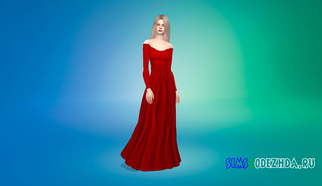 Плиссированное платье с открытыми плечами для Симс 4 – фото 1