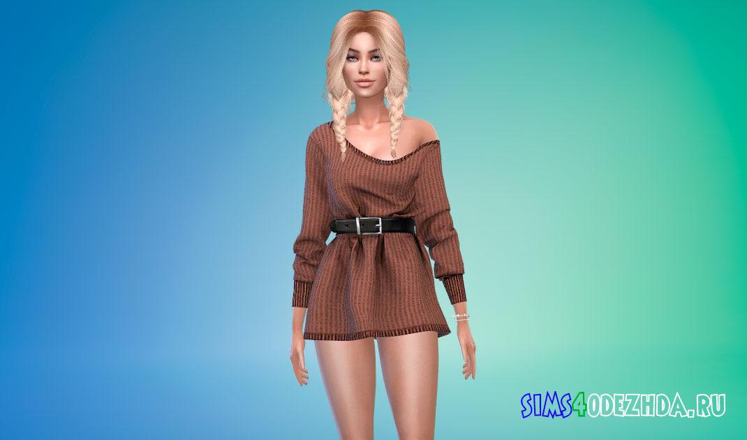 Простое шерстяное платье-рубашка для Симс 4 – фото 1