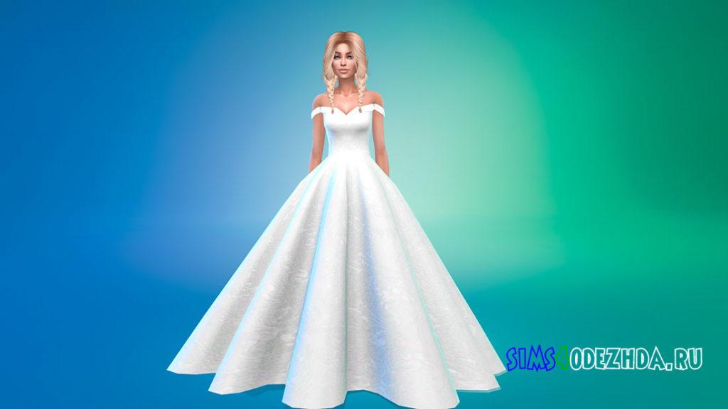 Пышное платье без рукавов для Симс 4 – фото 1
