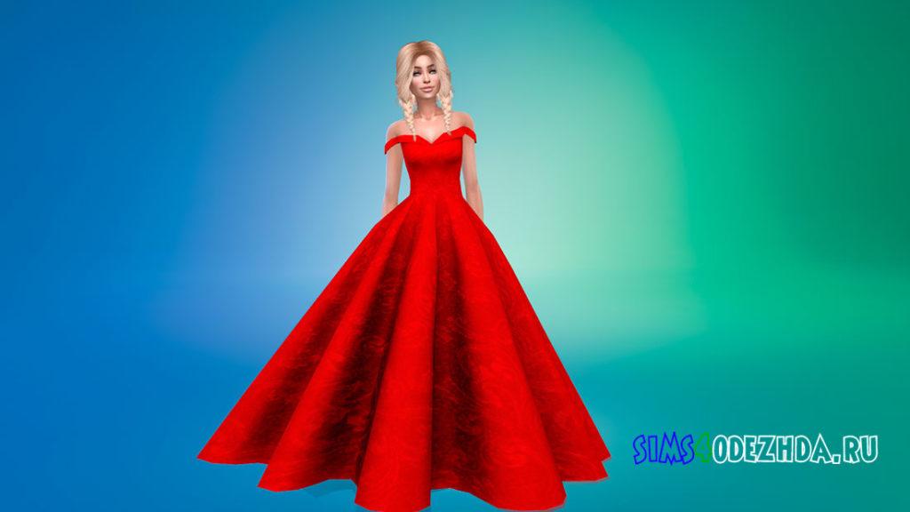 Пышное платье без рукавов для Симс 4 – фото 2