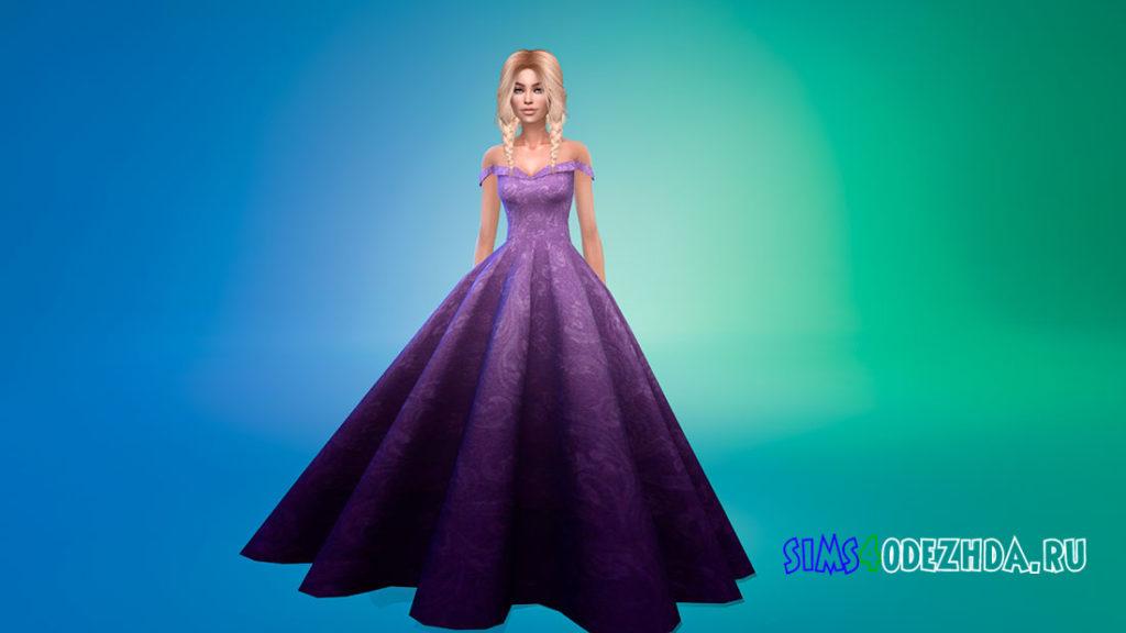 Пышное платье без рукавов для Симс 4 – фото 3