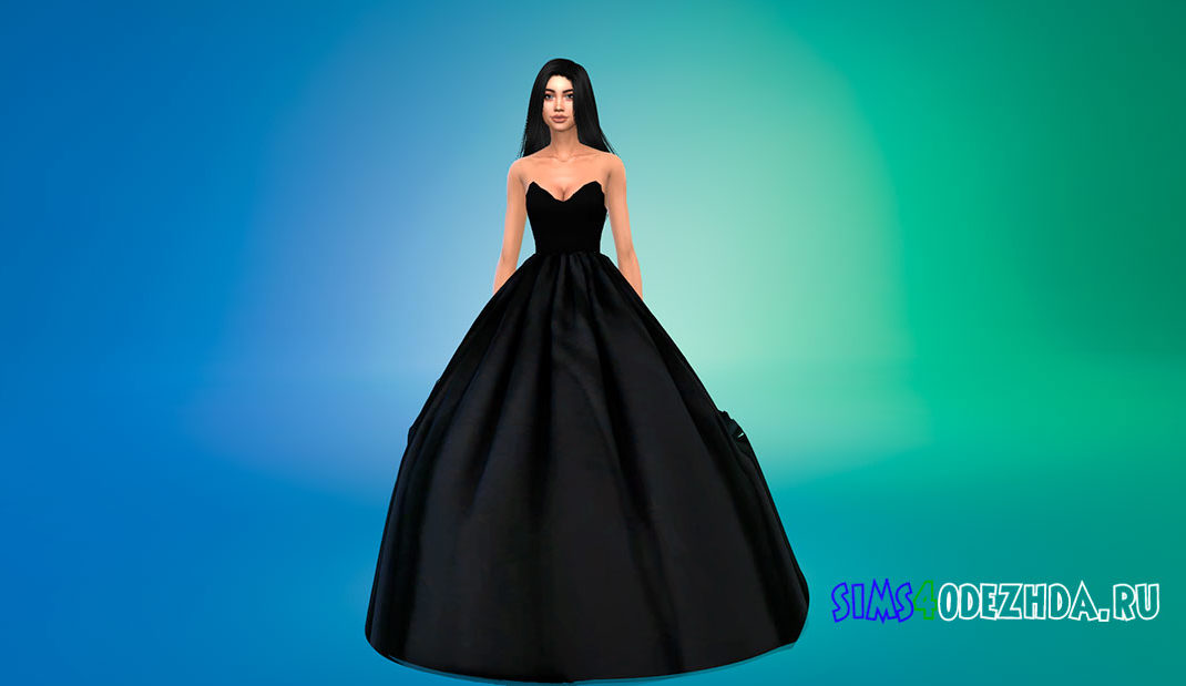 Пышное женское платье для Симс 4 – фото 1
