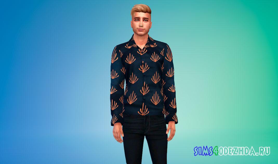 Шелковая рубашка для мужчин для Симс 4 – фото 1