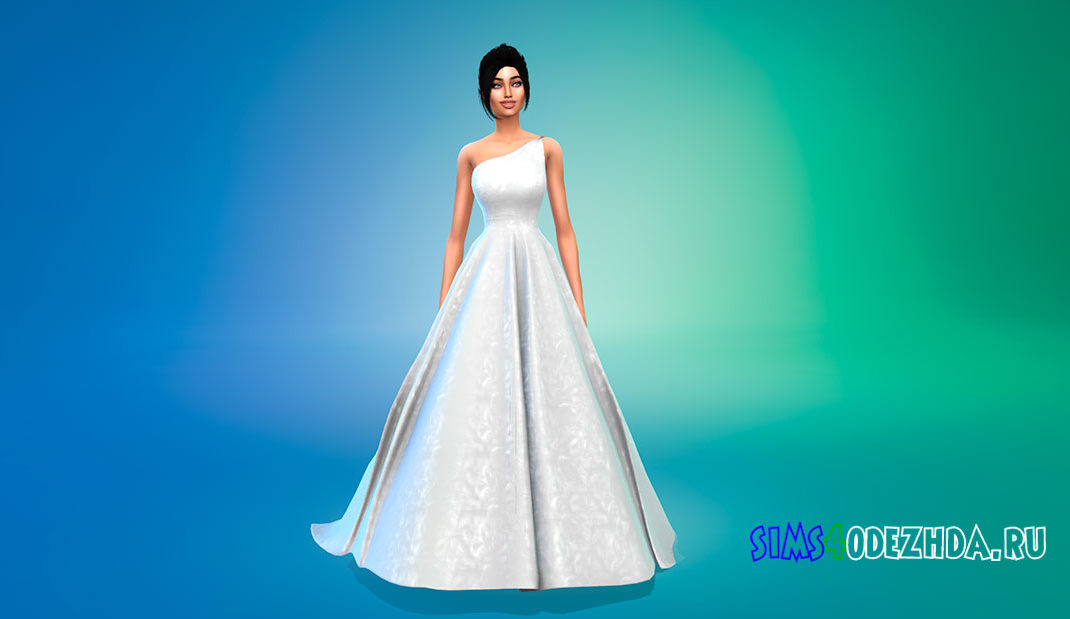 Свадебное платье на одно плечо для Симс 4 – фото 1
