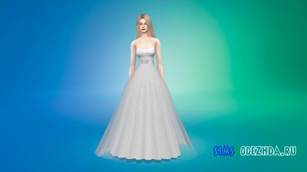 Свадебное платье с прозрачными рукавами для Симс 4 – фото 1
