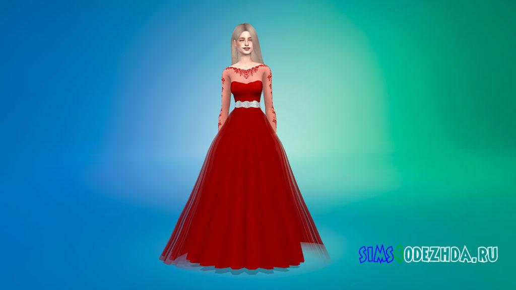 Свадебное платье с прозрачными рукавами для Симс 4 – фото 2
