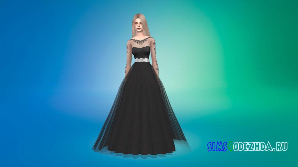 Свадебное платье с прозрачными рукавами для Симс 4 – фото 3