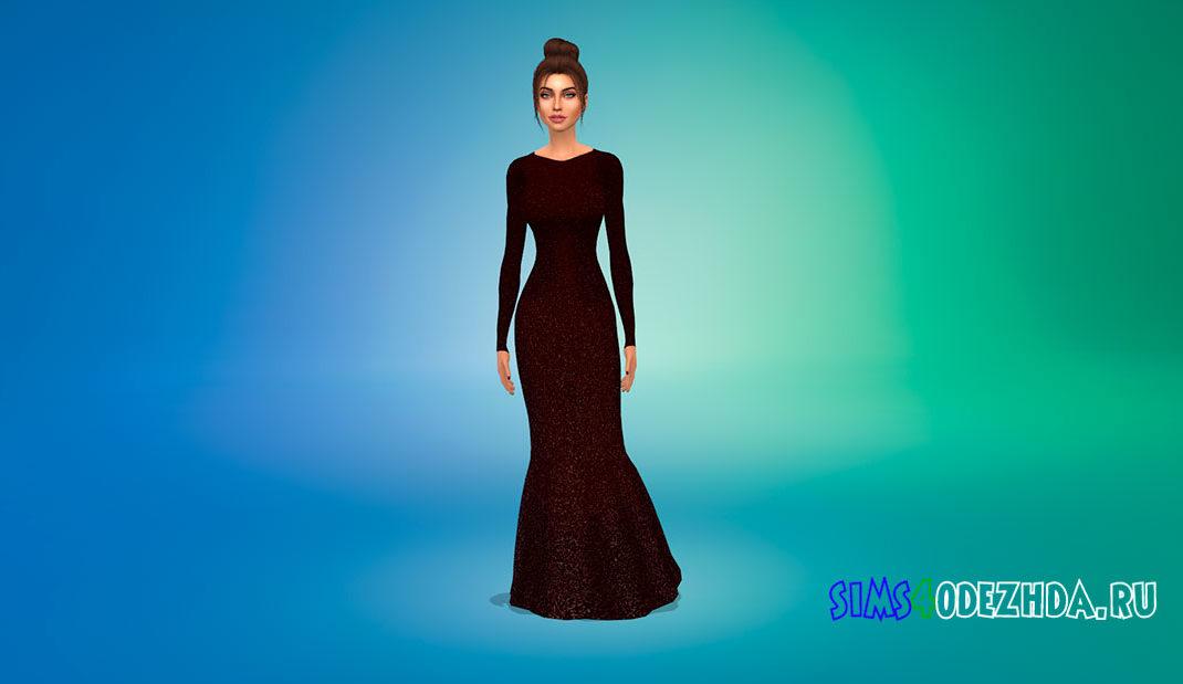 Сверкающее платье макси для Симс 4 – фото 1