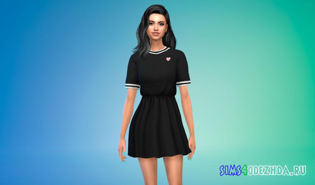 Свободное короткое платье для Симс 4 – фото 1