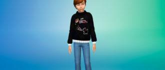 Зимний свитер для детей для Симс 4 – фото 1