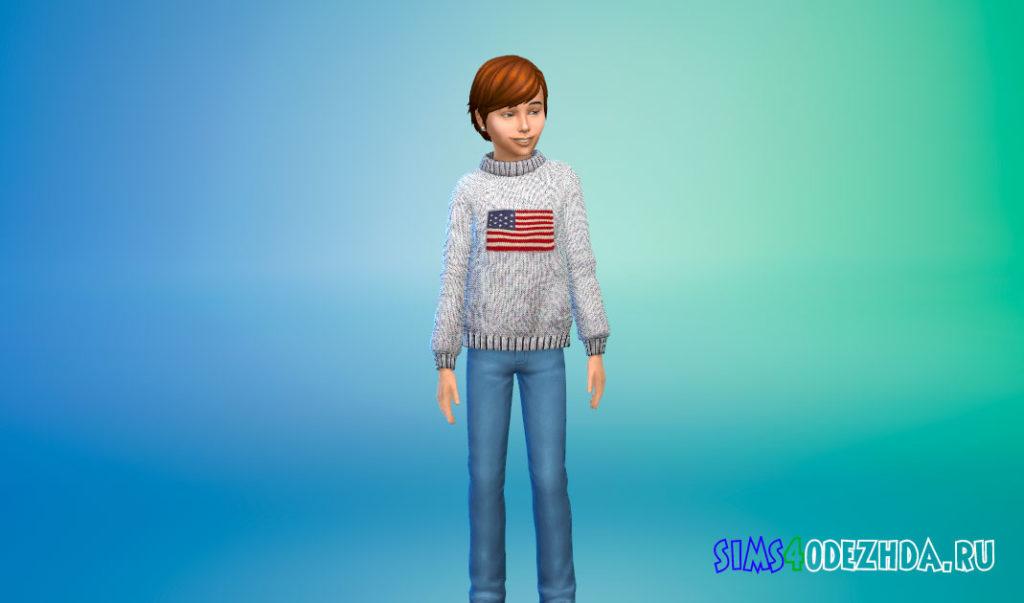 Зимний свитер для детей для Симс 4 – фото 2